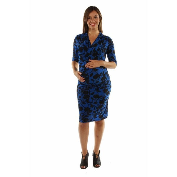 Alluring Blue Ocean Midi Faux Wrap Dress Maternity Size