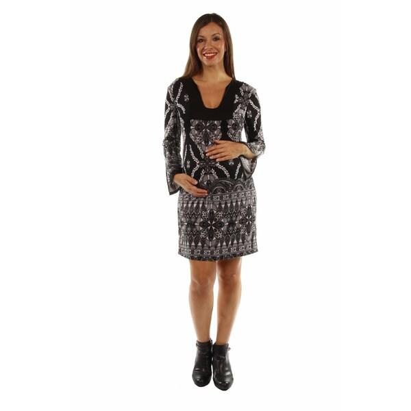 Pretty Sweet Black Silky Maternity Midi Dress
