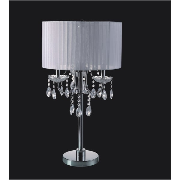 QMax Crystal Inspired Candelabra-style Chrome Base 29-inch 3-bulb Table Touch Lamp