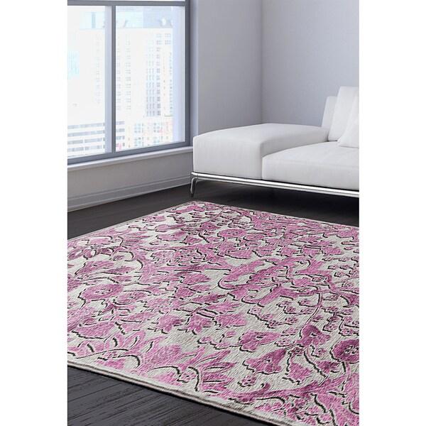 eCarpetGallery Cadiz Grey/Pink Viscose Rug (7'6 x 10'6)