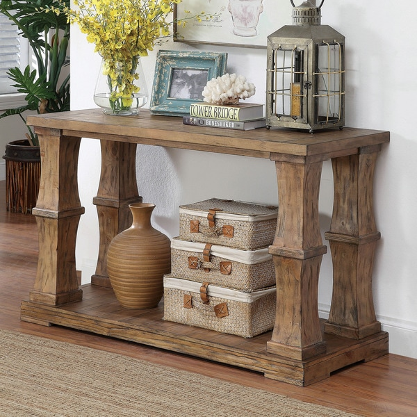 Furniture of America Temecula Shabby Chic Natural Tone Distressed Sofa Table