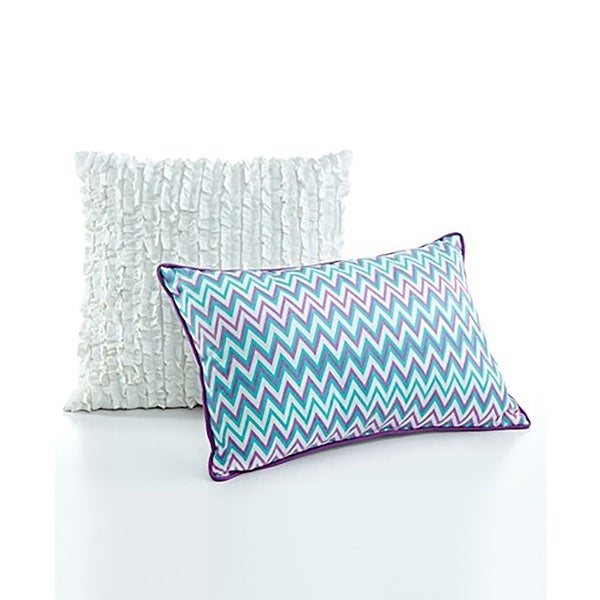 Seventeen Eva Eyelet Blue/White/Purple Polyester Decorative Pillow Set (Set of 2)