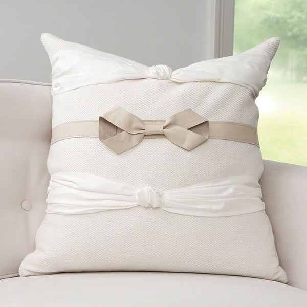 Take A Bow Off-white Cotton and Polyester Throw Pillow