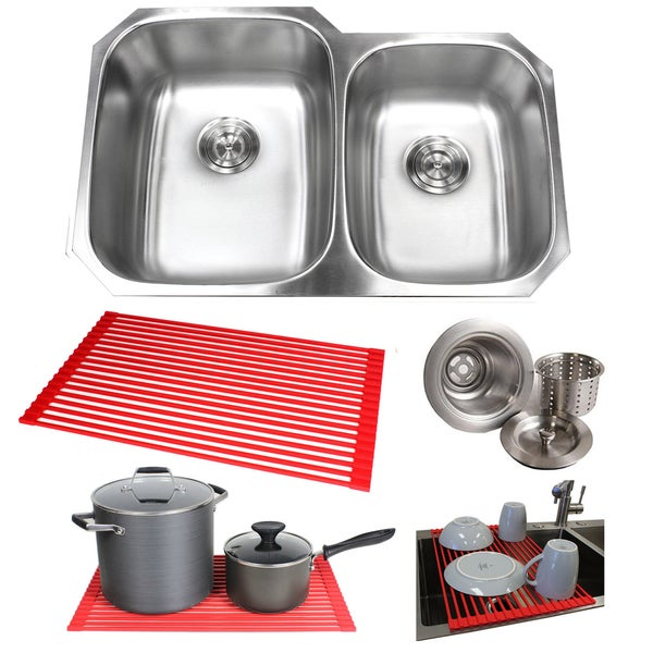 32-inch Double 40/60 Bowl 18 Gauge Undermount Stainless Steel Kitchen Sink with Basket Strainer With Dish Rack (Large Left Bowl)
