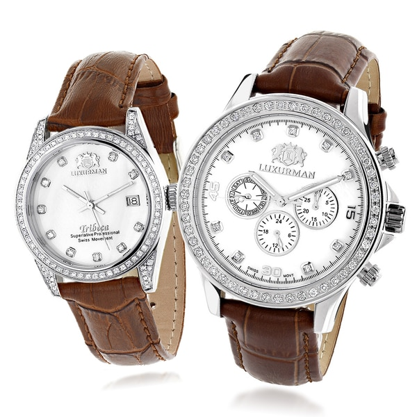 Luxurman His and Hers Goldplated Steel Brown Leather Strap Watches