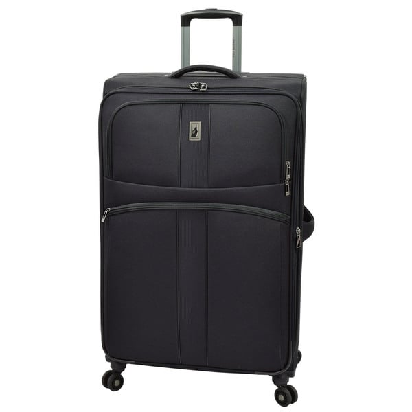 London Fog Wellington Black Polyester 29-inch Expandable 8-Wheel Spinner Suitcase