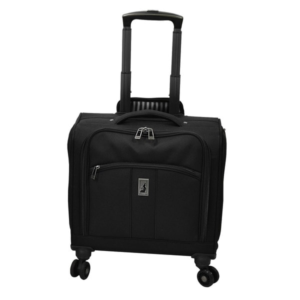 London Fog Wellington Black Polyester 15-inch Under-seat 8-wheel Spinner Tote Bag