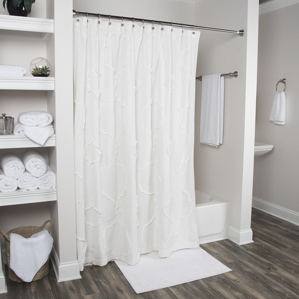 Arden Loft Diamond Embroided Notch Ivory 72 x 72-inch Shower Curtains