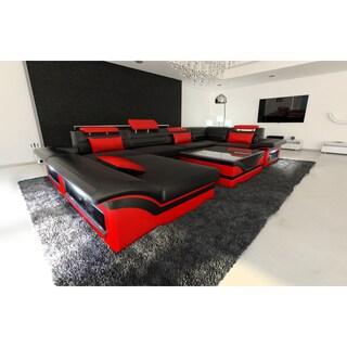 SofaDreams Leather Sectional 'Atlanta' Sofa with LED Lights