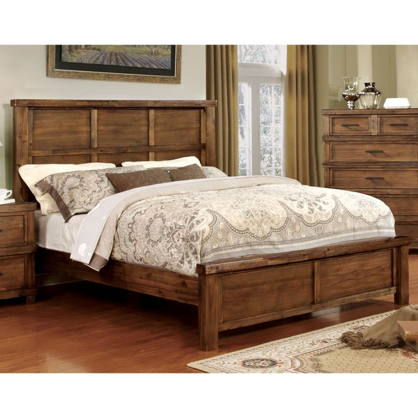 Furniture of America Stamson Rustic Antique Oak Wood Panel Bed