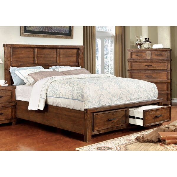 Furniture of America Stamson Rustic Antique Oak Wood Storage Bed