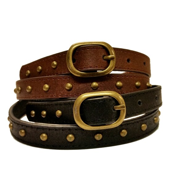 Women's Genuine Leather Brass Studded Narrow Belt