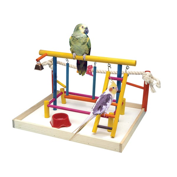 Penn Plax Bird Activity Center Wooden Playground