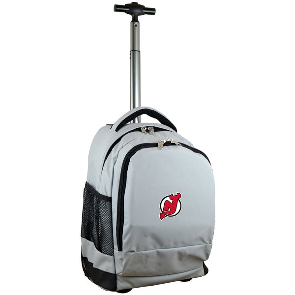 Denco SportsMojo New Jersey Devils Grey Nylon Wheeled Backpack
