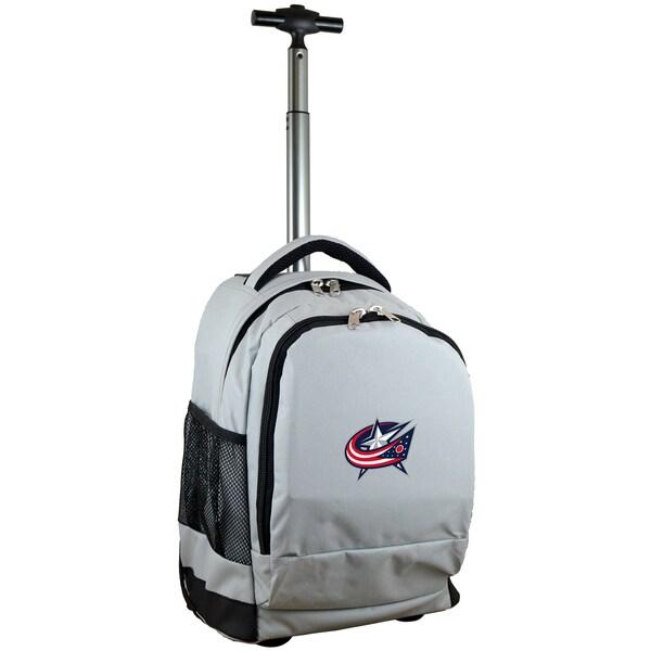 Denco Sports L780 Series Mojo Columbus Blue Jackets Grey Ballistic Nylon, Nylon, and Denim Premium Wheeled Backpack