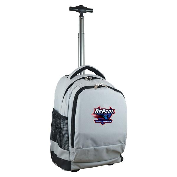 Denco Sports Mojo DePaul Premium Grey Nylon/Denim Wheeled Backpack