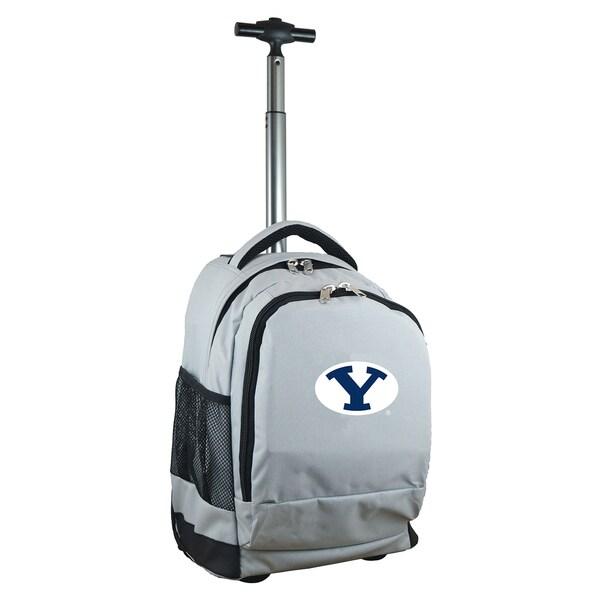 Denco Sports Mojo Brigham Young University Premium Grey Nylon Wheeled Backpack