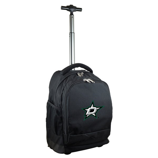 Denco Sports Mojo Dallas Stars Premium Black Ballistic Nylon 17-inch Wheeled Laptop Backpack