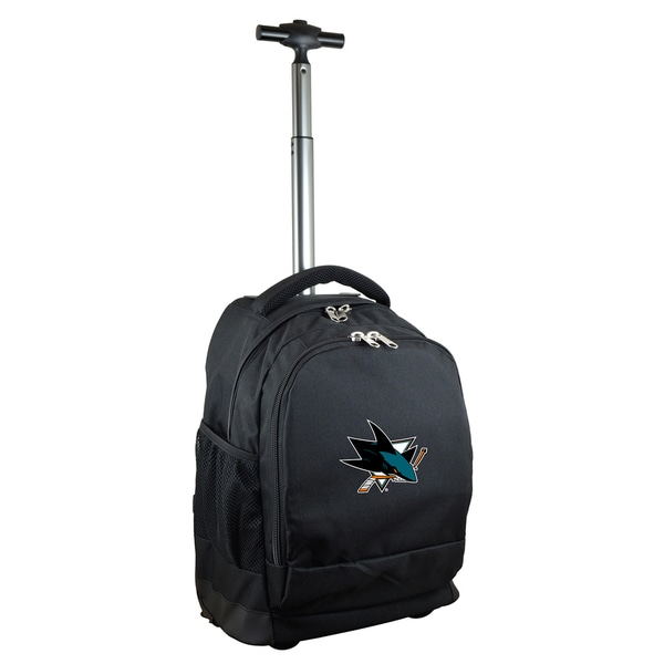 Denco Sports Mojo San Jose Sharks Premium Black Nylon and Denim Wheeled backpack