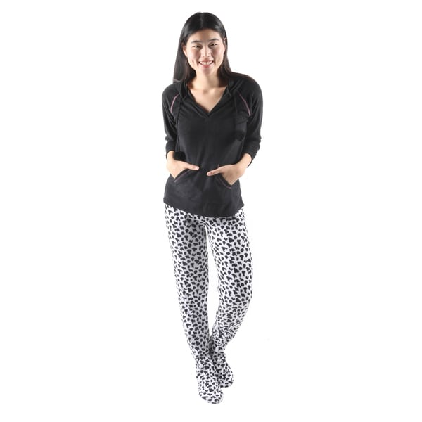 Hadari Women's Cute Dalmation Print Footie Pajama Set