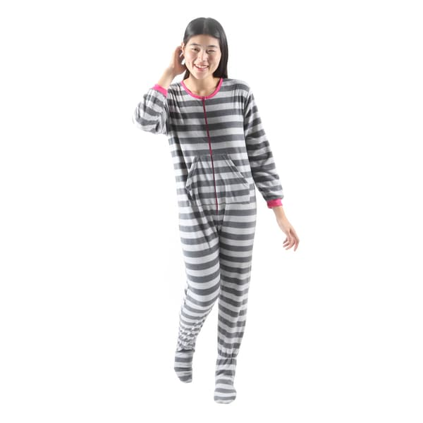 Hadari Womens Soft Cute One-piece Grey Owl Stripe Pajama