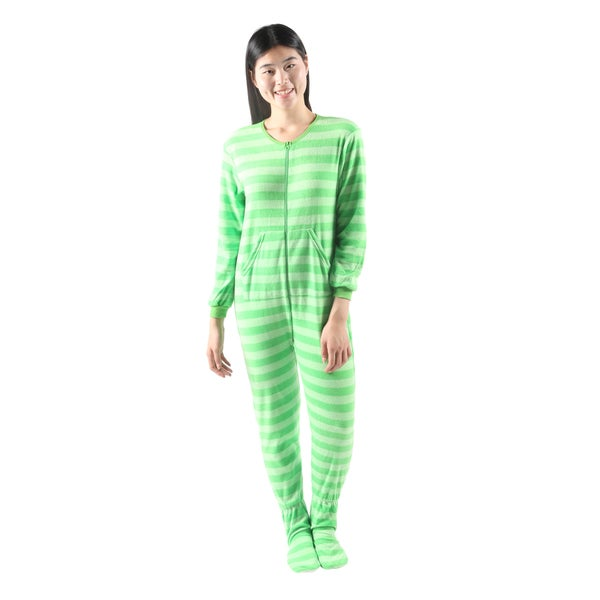 Hadari Womens Soft Cute One-piece Pajama Green Frog Stripe Pajama