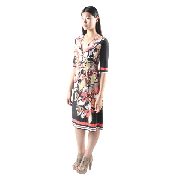 Hadari Womens Casual PartyEvening Floral Print V-Neck Dress