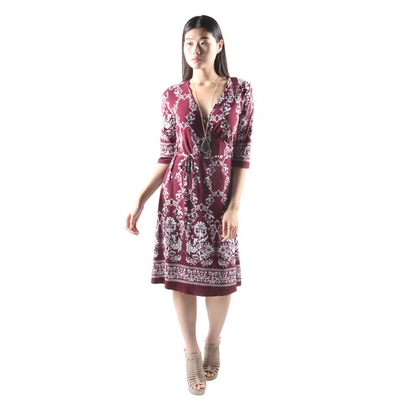 Hadari Womens Casual V-Neck Floral PrintLoose Burgundy Dress