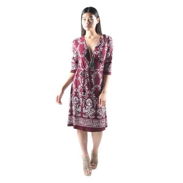 Hadari Womens Casual V-Neck Floral PrintLoose Burgundy Dress