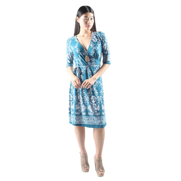 Hadari Womens Casual V-Neck Floral PrintLoose Blue Dress