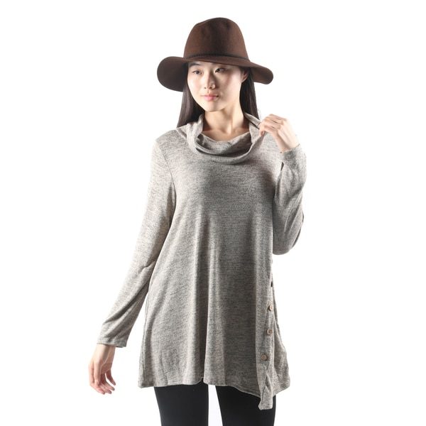 Hadari Womens Loose Cowl Neck Asymmetrical Turtle Neck Tunic Top