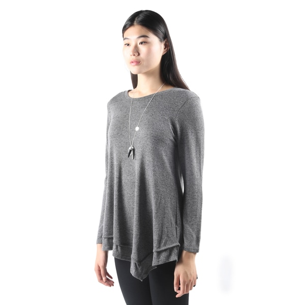 Hadari Womens Fashion Long Sleeve Loose Charcoal Tee Tank Top Shirt