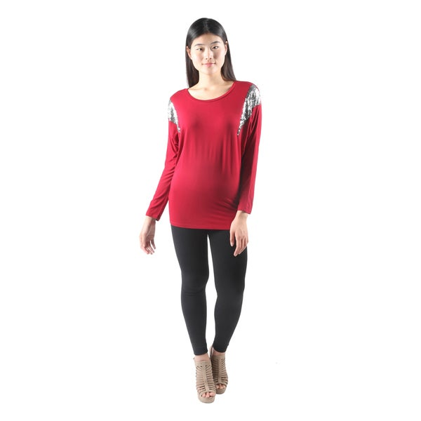 Hadari Womens Sexy Long Sleeve Red Dolman Tunic Top