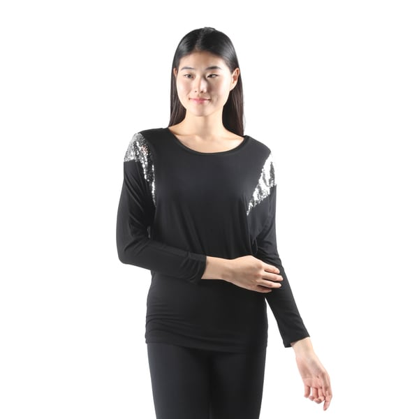 Hadari Womens Sexy Long Sleeve Black Dolman Tunic Top