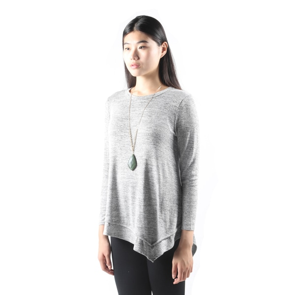 Hadari Womens Fashion Long SleeveLooseGrey Tee Tank Top Shirt