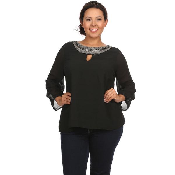 Women's Plus Size Beaded Keyhole Neckline Black Blouse Shirt Top