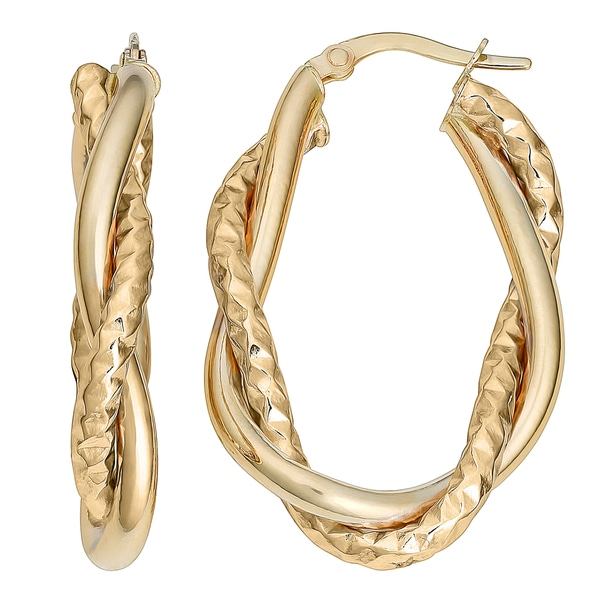 Fremada Italian 14k Yellow Gold Intertwined Oval Hoop Earrings 21955563