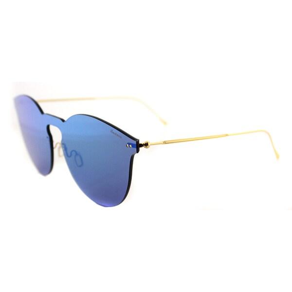 Illesteva Leonard II Mask LM2-1 Green Plastic Round Green Mirror Lens Sunglasses