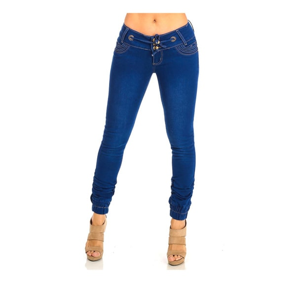 Juniors Blue Denim Low-rise Stretchy Ankle Jeans