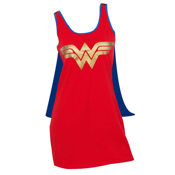 Wonder Woman Cape Red/Blue/Gold Cotton-Blended Costume Dress