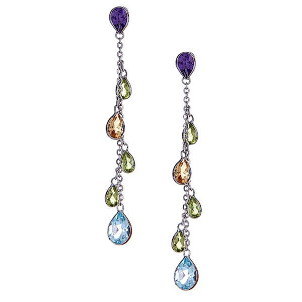 14k White Gold Multi Semi Precious Earrings