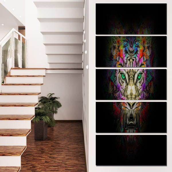 Designart 'Fierce Tiger Head on Black' Animal Artwork on Canvas