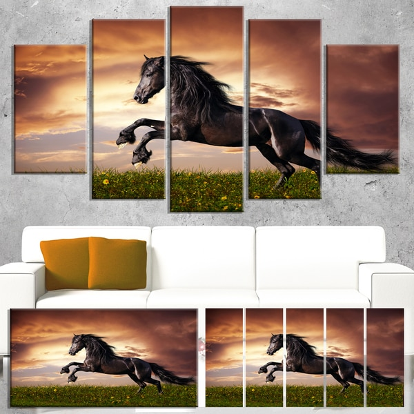 Designart 'Black Friesian Horse Gallop' Animal Wall Art Print