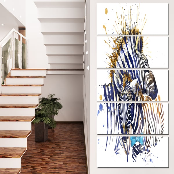Designart 'Zebra Family Illustration Watercolor' Contemporary Animal Art Canvas 21956249