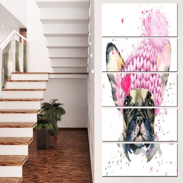 Designart 'French Bulldog with Pink Hat' Contemporary Animal Art Canvas