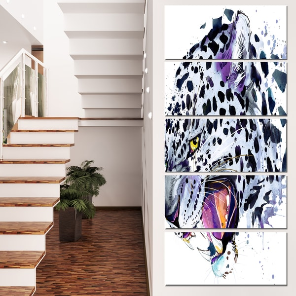 Designart 'Ferocious Snow Leopard Face' Large Animal Wall Artwork