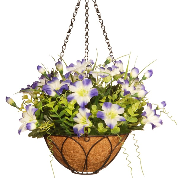 National Tree Company Petunia Flowers Multicolor 13-inch Hanging Basket