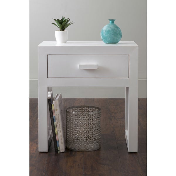 East At Main's Gilbert White Wooden Square Nightstand