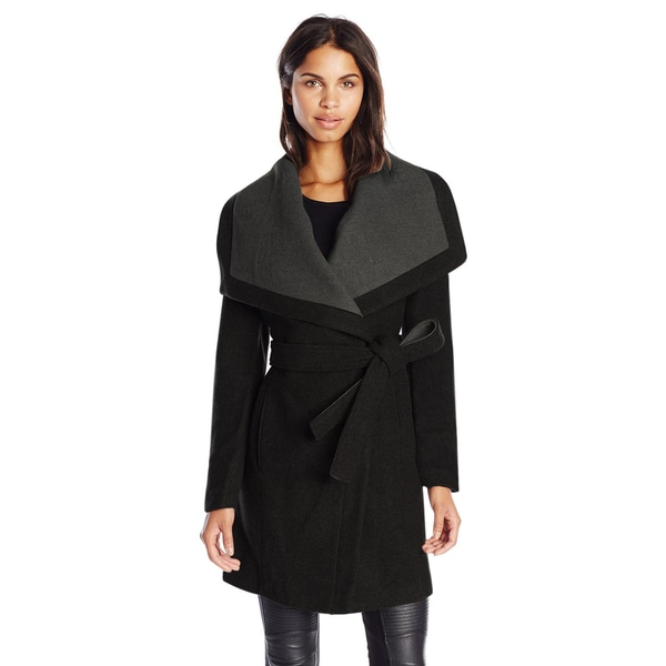 BCBGeneration Black/Grey Wool/Polyester Belted Wrap Coat