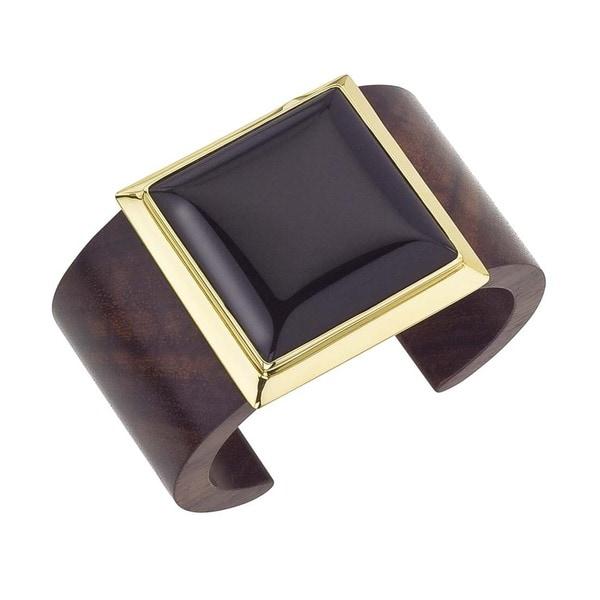 18k Vermeil Gold Onyx Square Cuff